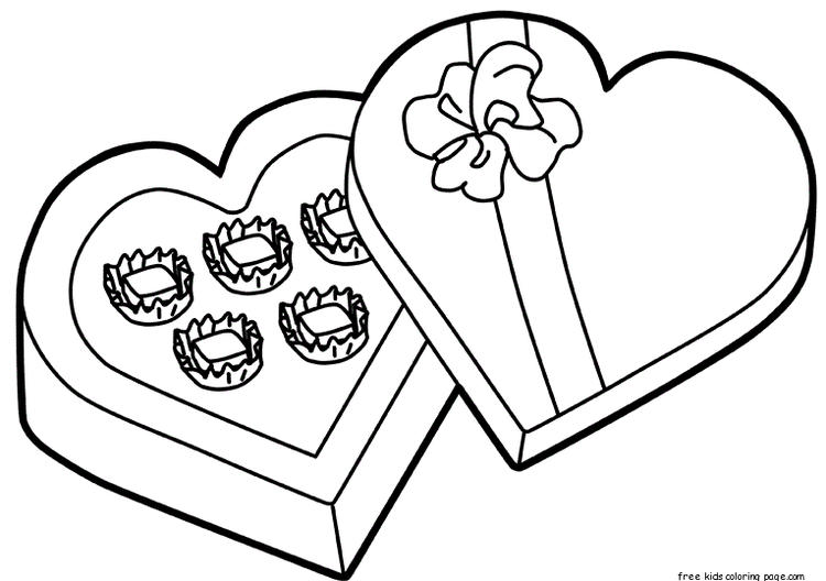 Printable Valentines Day Candy Gift Coloring Pages
