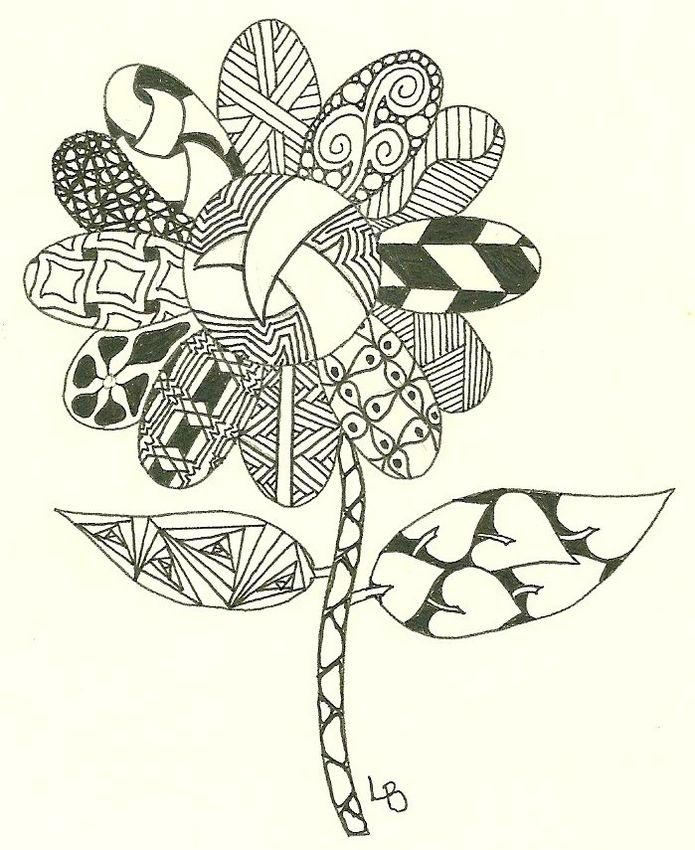 Printable Zentangle Flower Coloring Page