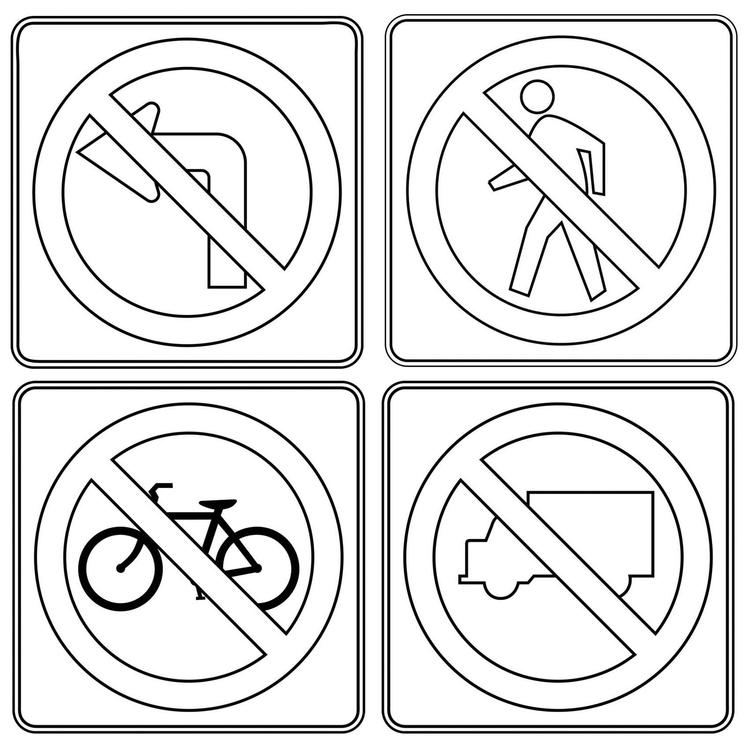 Prohibitory Traffic Sign Poster And Drawing Page