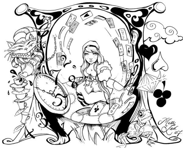 Psychedelic Coloring Pages Alice In Wonderland