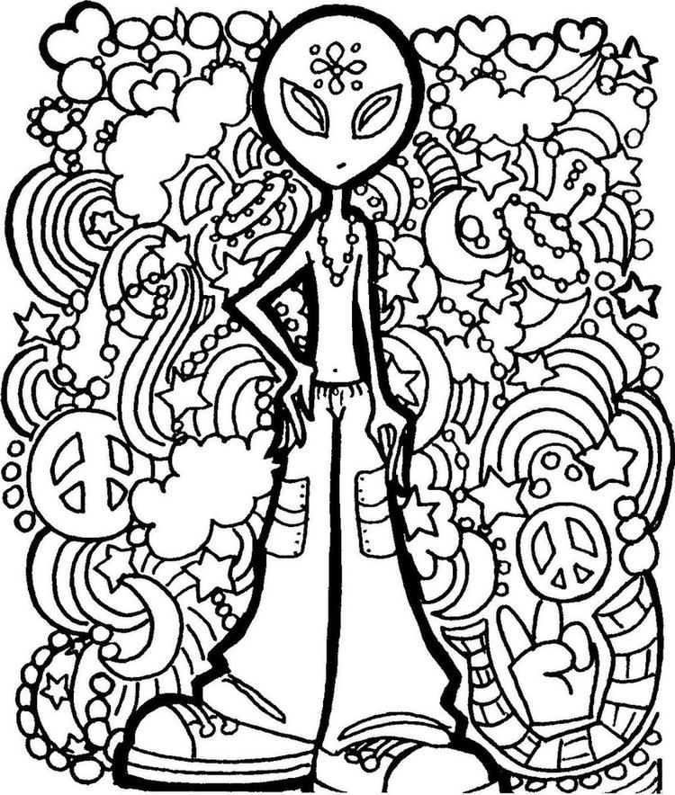 Psychedelic Coloring Pages Alien