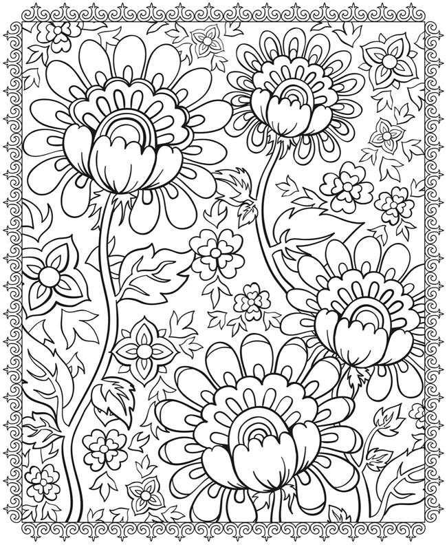 Psychedelic Coloring Pages Flowers