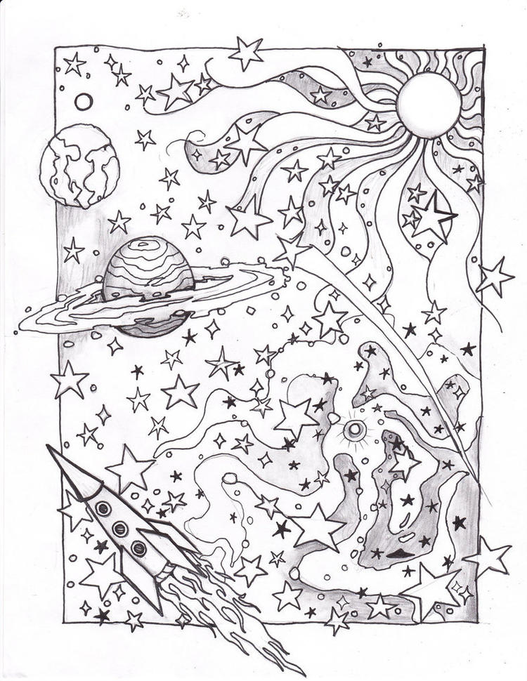 Psychedelic Coloring Pages Outer Space