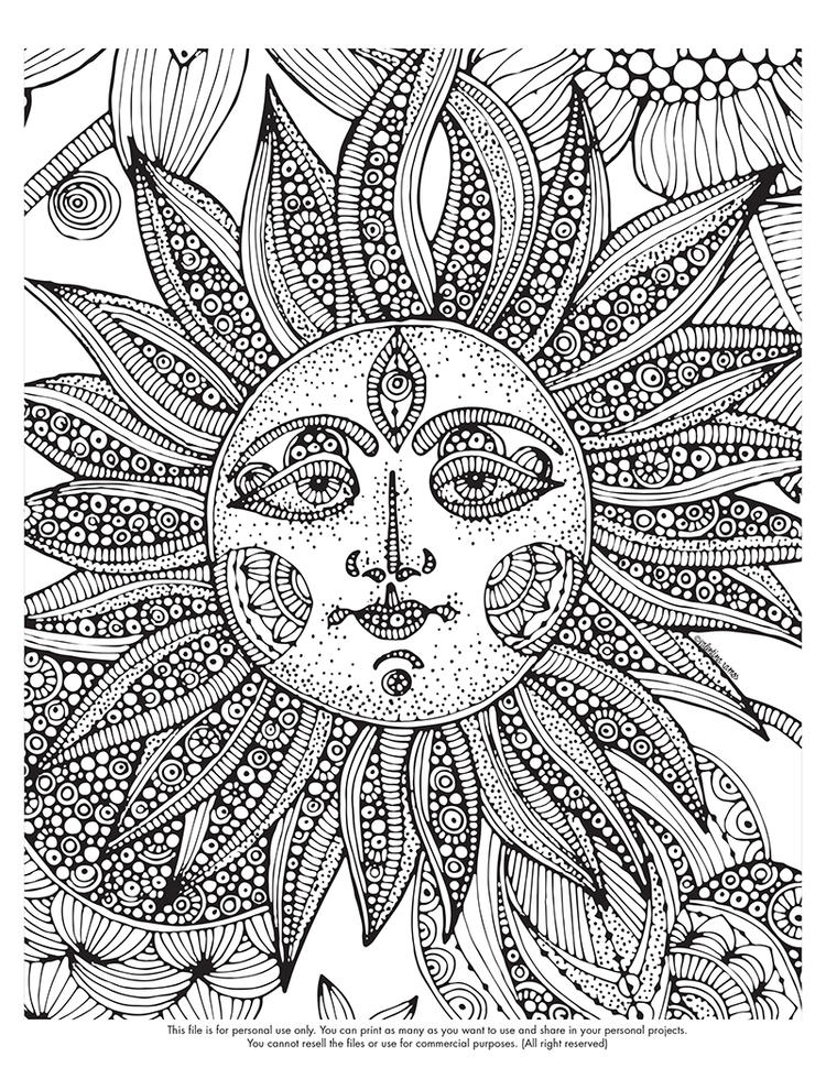 Psychedelic Coloring Pages Sun