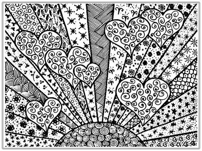 Psychedelic Hearts Coloring Pages