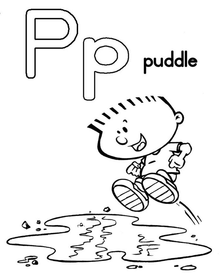 Puddle Free Alphabet Coloring Pages