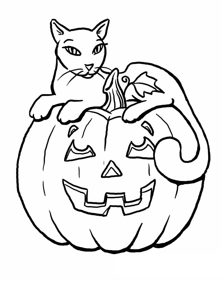 Pumpkin Cat Coloring Pages