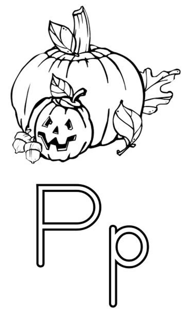 Pumpkin Free Alphabet Coloring Pages