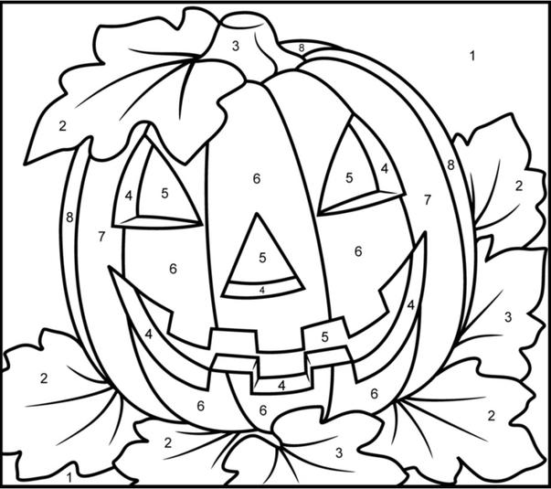 Pumpkin Halloween Color By Number Pages