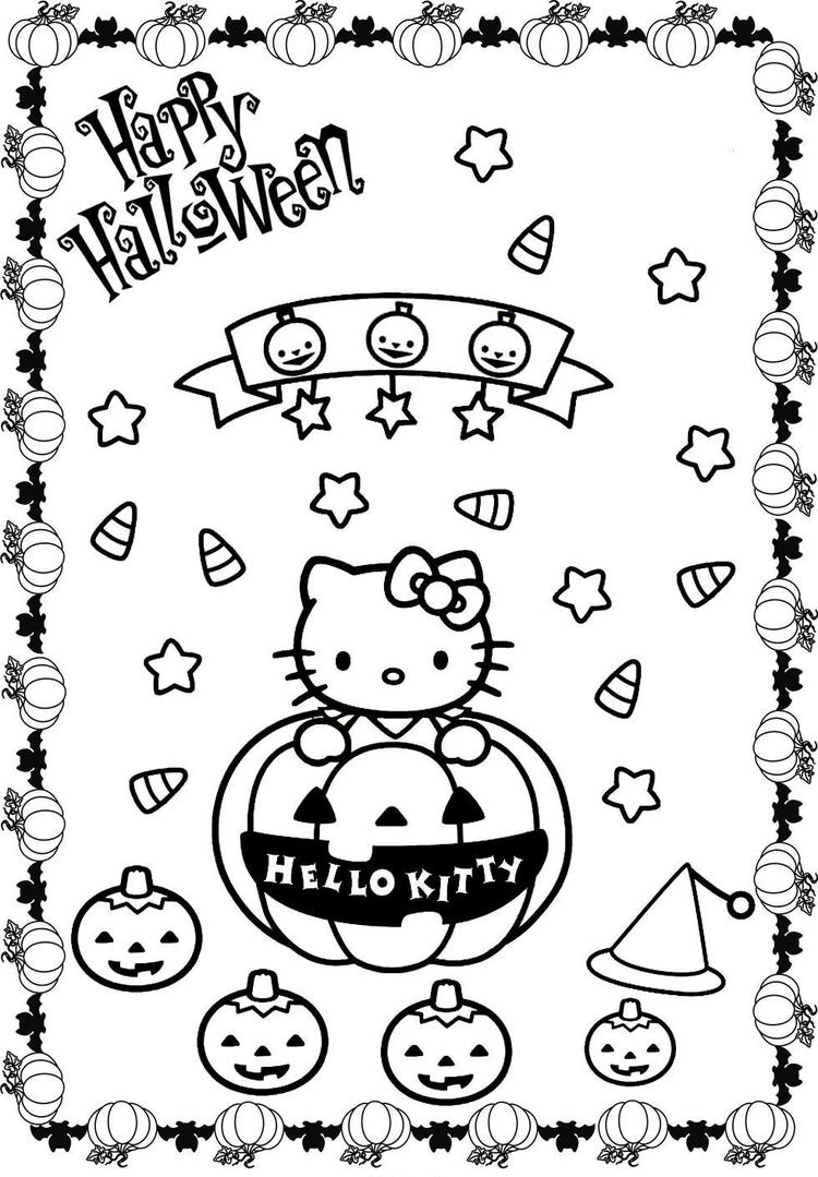Pumpkin Halloween Hello Kitty Coloring Pages1