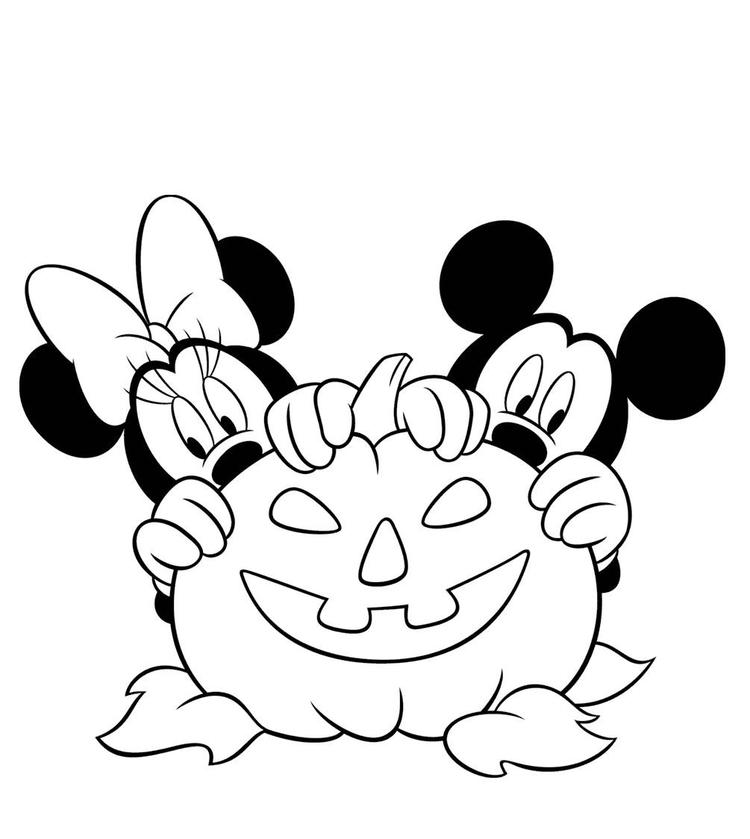 Pumpkin Mickey And Minnie Mouse Coloring Pages