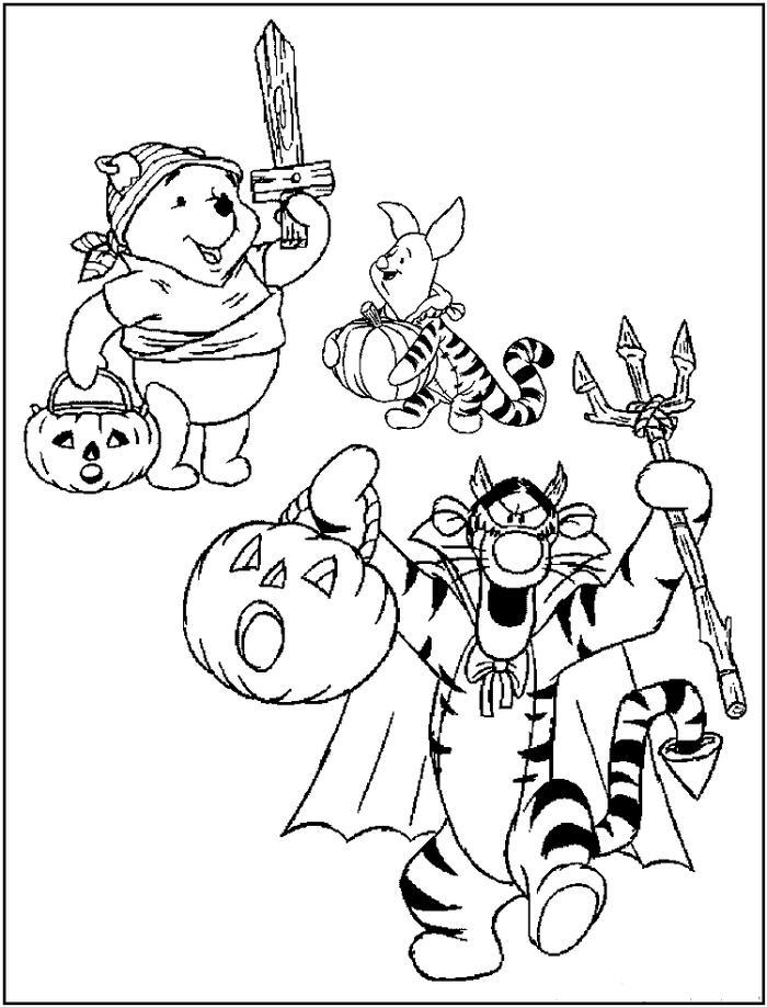 Pumpkins And Winnie The Pooh Coloring Pages
