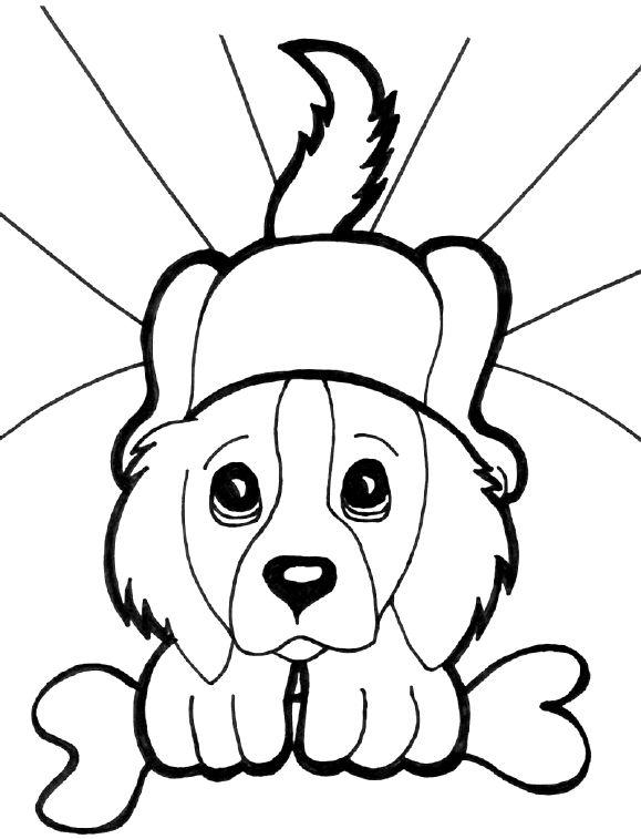 Puppies Coloring Pages Holding A Bone