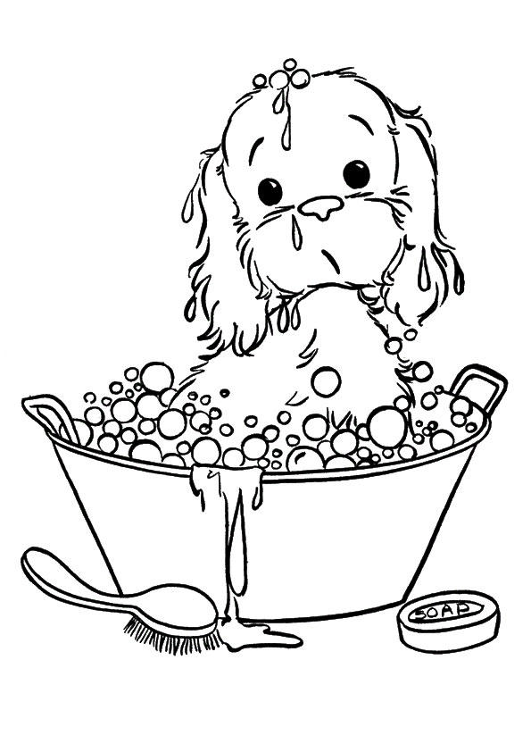 Puppies Coloring Pages Take A Bath