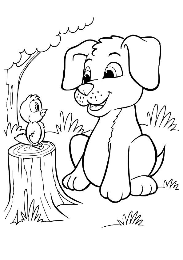 Puppies Coloring Pages With Bird