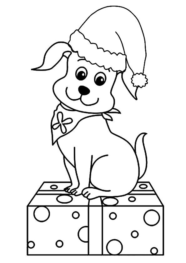 Puppies Coloring Pages With Christmas Gift
