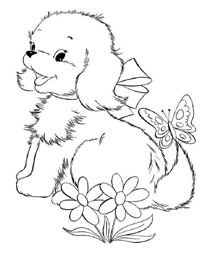 Puppy And Butterfly Coloring Pages