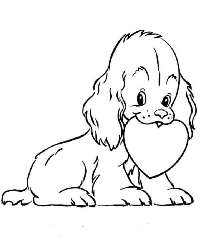 Puppy Hearts Coloring Pages