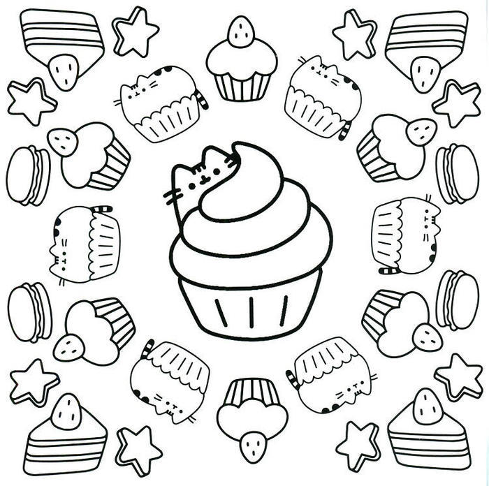 Pusheen Cupcakes Coloring Pages