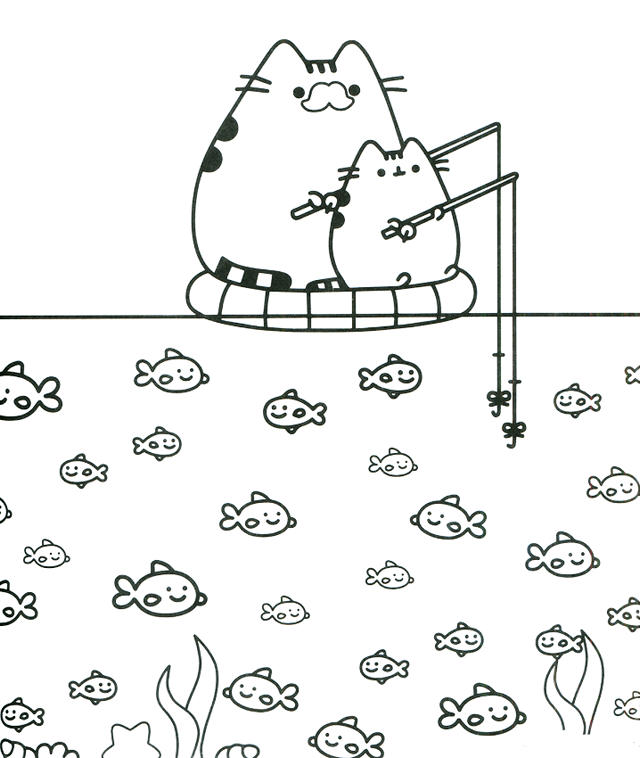 Pusheen Fishing Themed Coloring Sheet