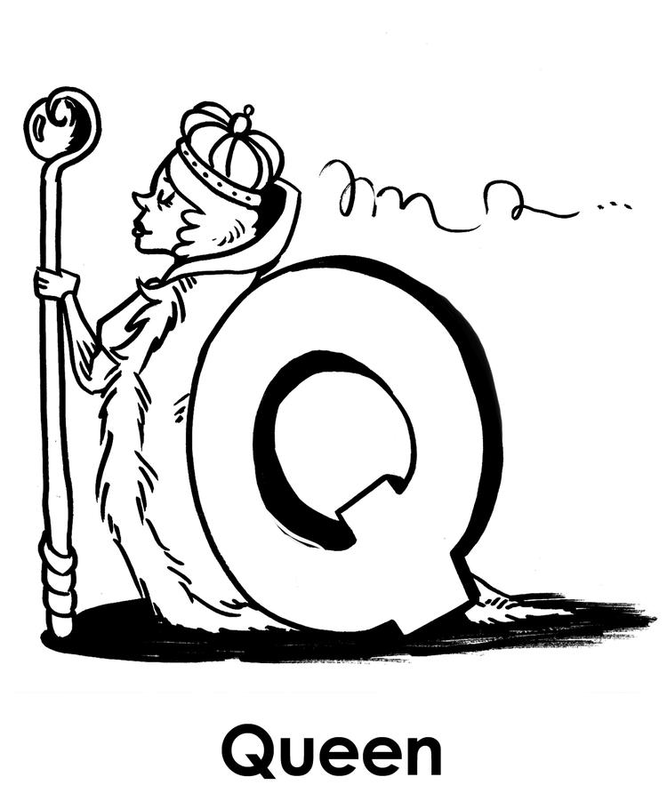 Q For Queen Alphabet Coloring Pages