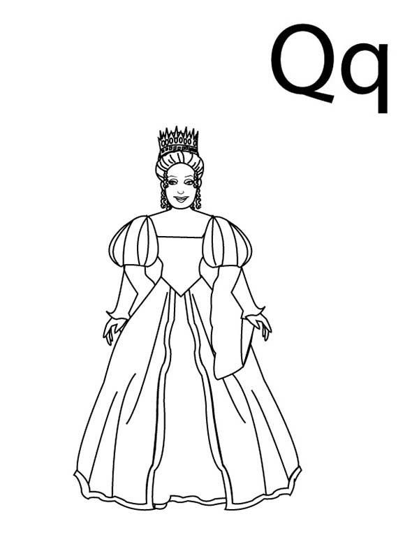 Queen For Letter Q Letter Q Coloring Page