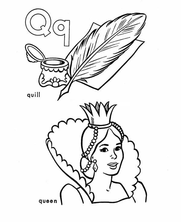 Quill And Queen For Learning Letter Q Coloring Page
