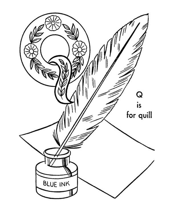 Quill For Alphabet Letter Q Coloring Page