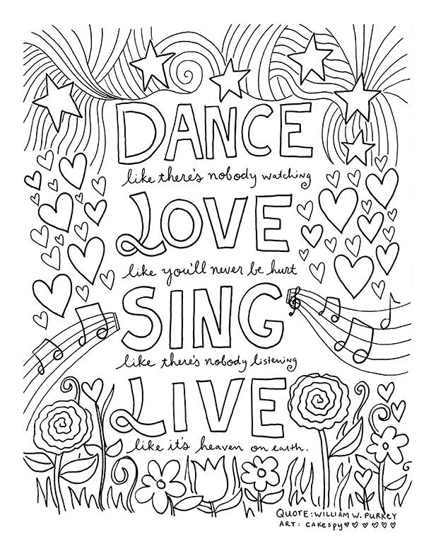 Quote Coloring Pages About Love And Live