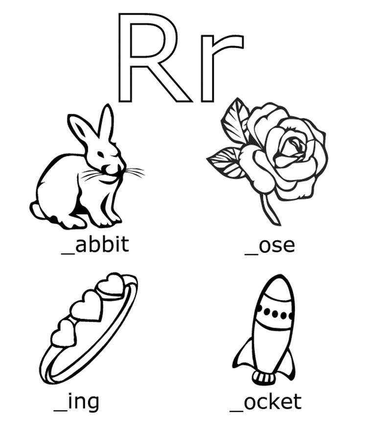R Words Free Alphabet Coloring Pages