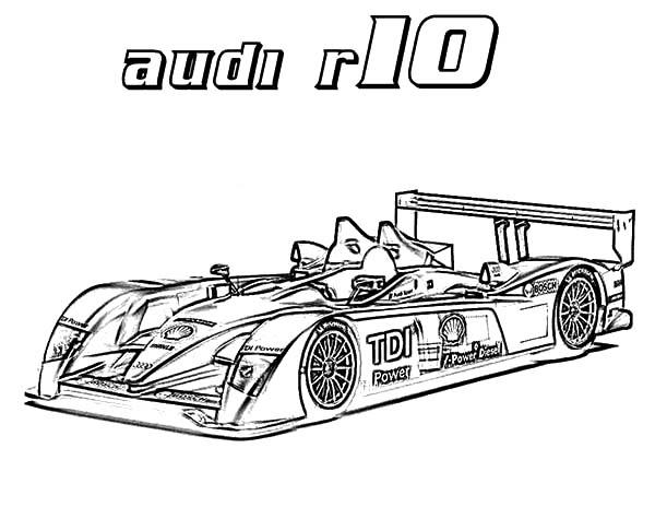 R10 Audi Cars Coloring Pages