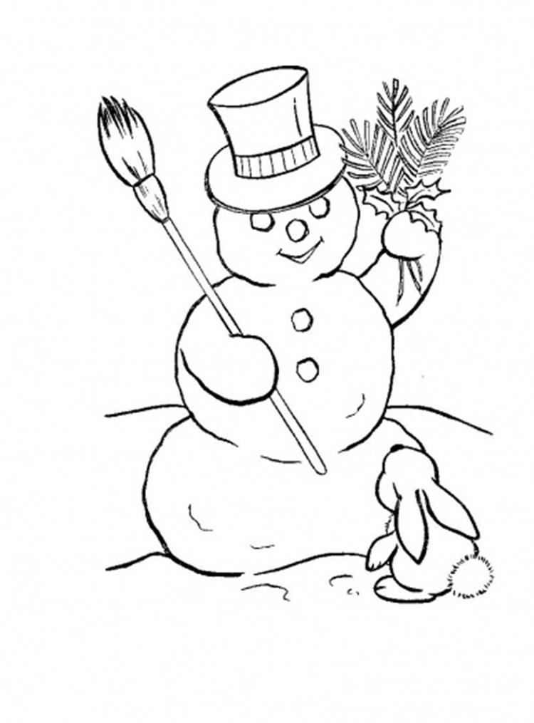 Rabbit And Snowman Coloring Pages To Print