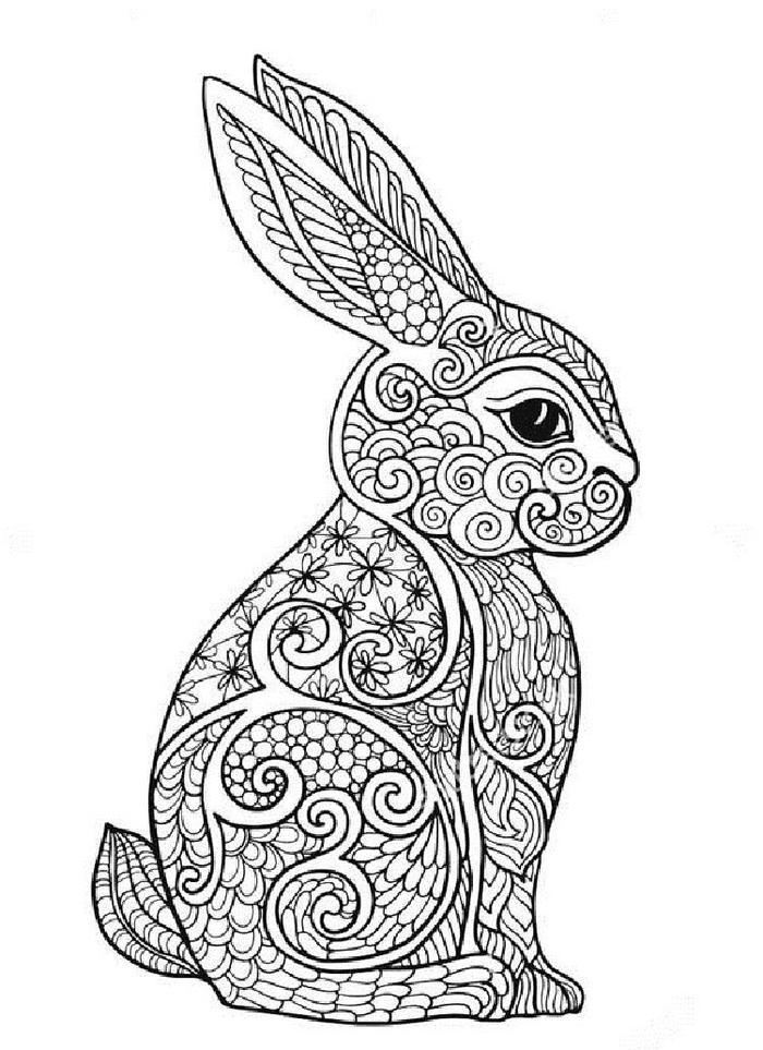 Rabbit Art Therapy Coloring Pages