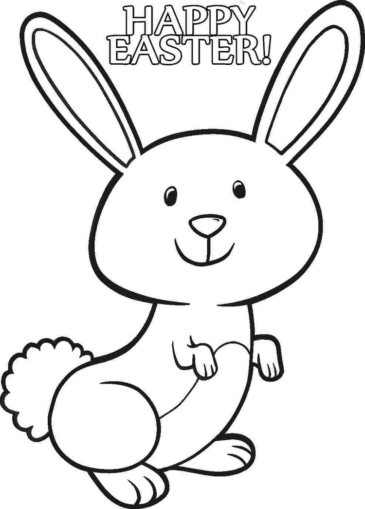Rabbit Coloring Pages Happy Easter