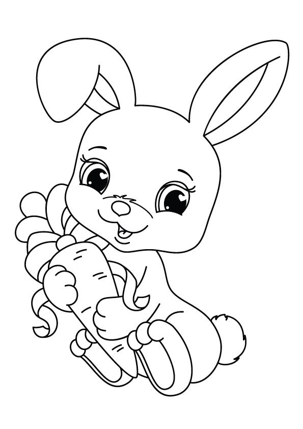 Rabbit Coloring Pages Holding A Carrot