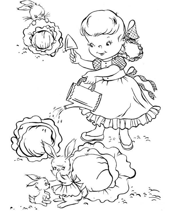 Rabbit Stealing Cabbage From Little Garden In Gardening Coloring Pages