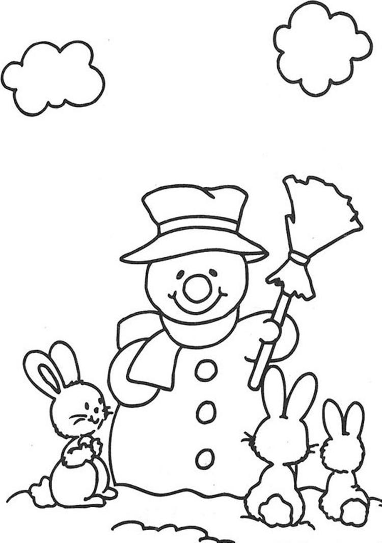 Rabbits And Snowman Coloring Pages
