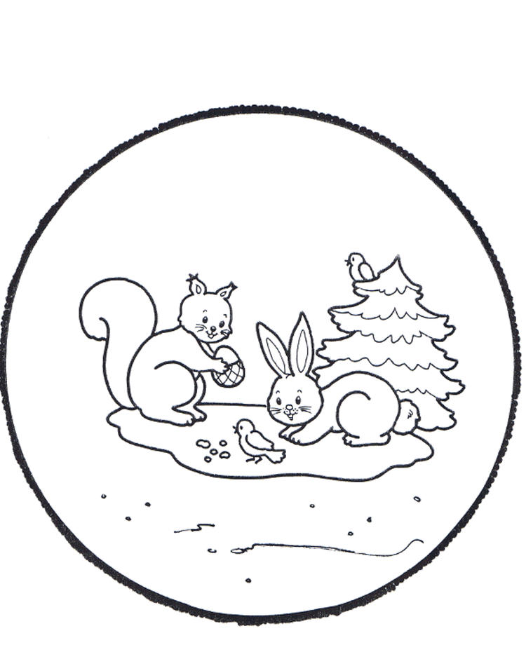 Rabbits Winter Coloring Pages