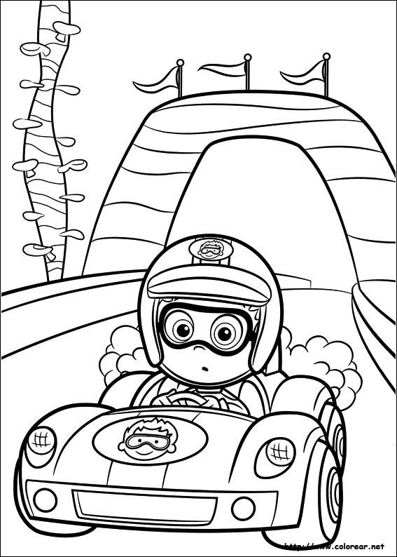 Race Bubble Guppies Coloring Pages