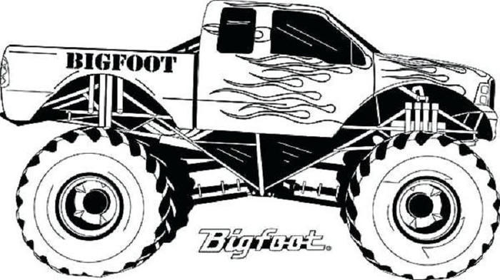 Race Cars Monster Truck Coloring Pages