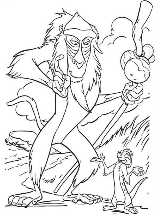 Rafiki And Timon The Lion King Coloring Page