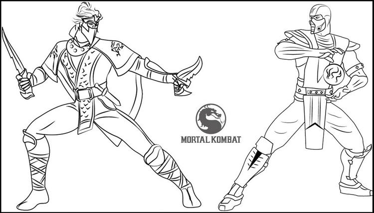 Rain vs sub zero from mortal kombat coloring page