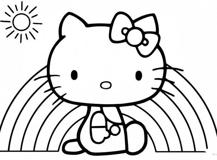 Rainbow And Hello Kitty Coloring Pages