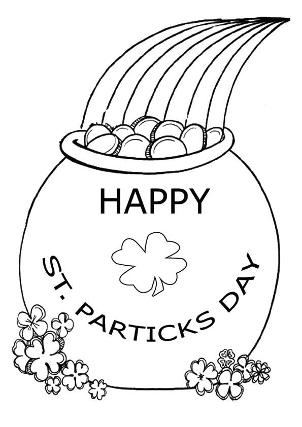 Rainbow And Pot Of Gold Coloring Pages Happy St Patricks Day