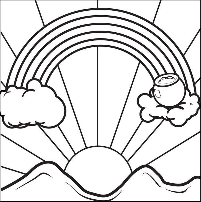 Rainbow And Pot Of Gold Coloring Pages Sunrise