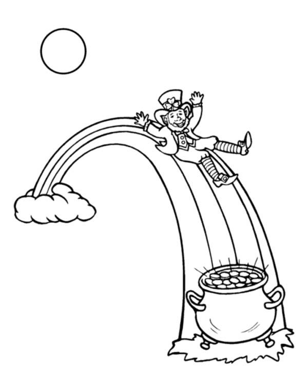 Rainbow And Pot Of Gold Coloring Pages With Leprechaun