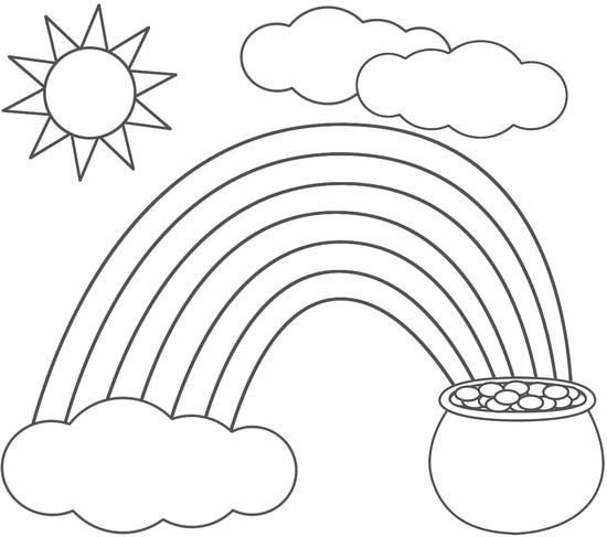 Rainbow And Pot Of Gold Coloring Pages With Sun And Clouds