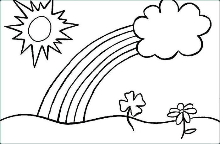 Rainbow And Sunshine Coloring Pages