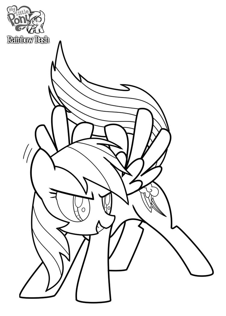 Rainbow Dash Coloring Pages Printable For Kids