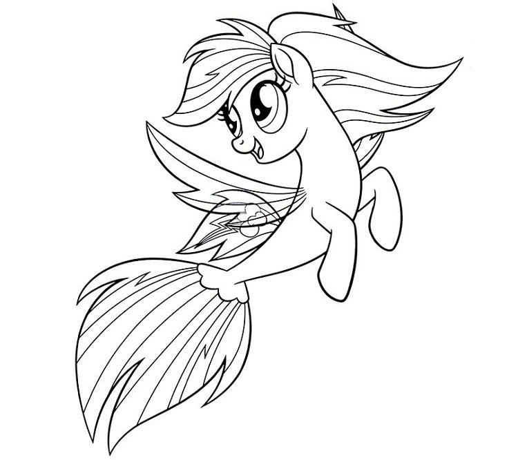 Rainbow Dash Mermaid Coloring Pages